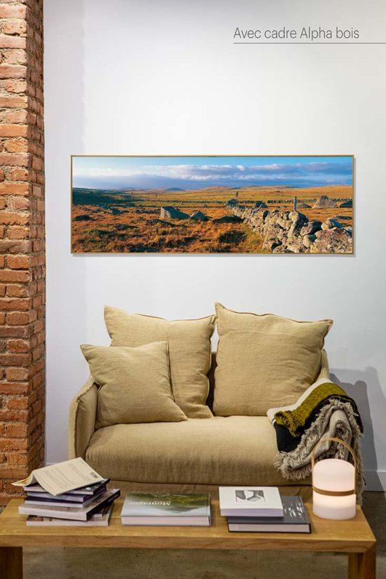 Mur de pierre en Aubrac - Tirage photo avec cadre bois (option)