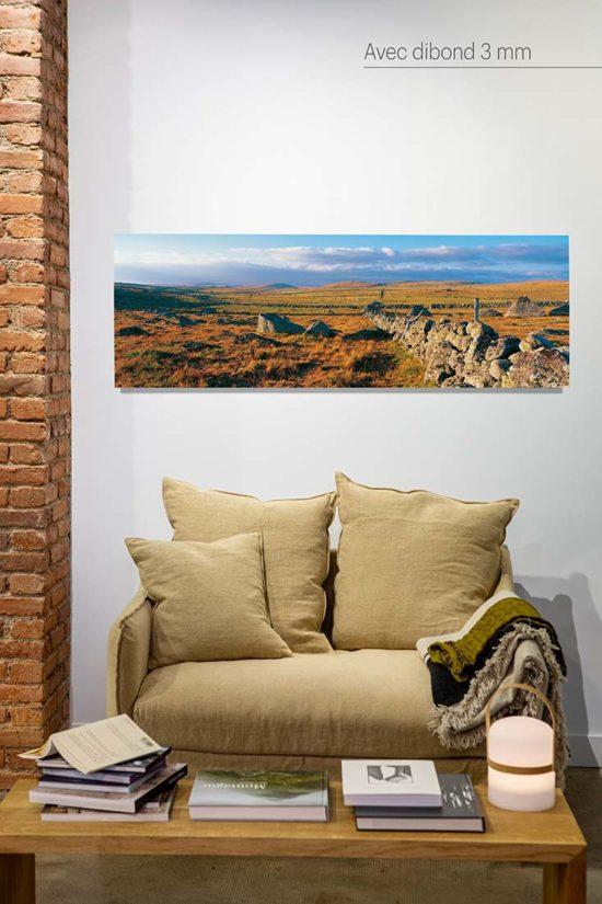 Mur de pierre en Aubrac - Tirage photo avec cadre noir (option)