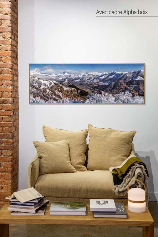 Vallée de La Jordanne, hiver, Cantal - Avec cadre bois (en option)