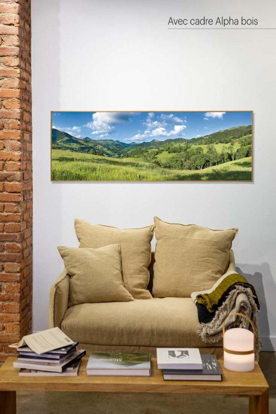 Vallée de La Jordanne, été, Cantal - Avec cadre en bois (en option)